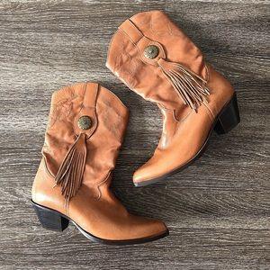 Durango Cowboy Western Fringe Leather Boots size 8